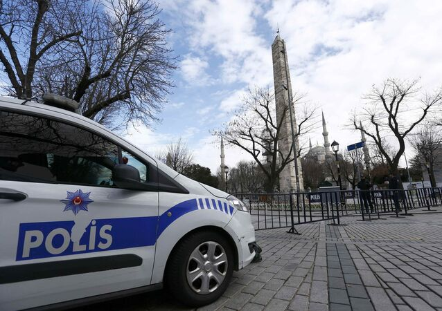 Police secure the area around the Obelisk of Theodosius at Sultanahmet square in Istanbul.