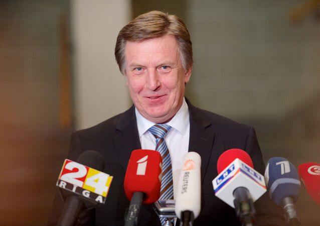 Maris Kucinskis of the Greens and Farmers Union (ZZS) speaks during a press conference after Latvian President nominated him as Prime Minister and asked to form a new government in Riga