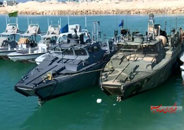 American Navy boats in custody of the Iranian Revolutionary Guards in the Persian Gulf.