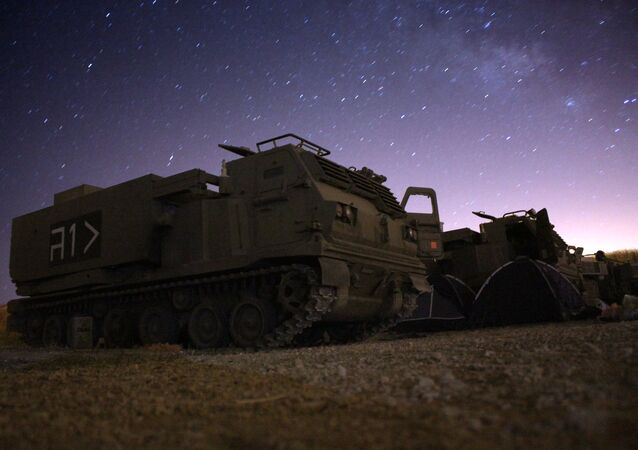 M-270 MLRS Launcher at night