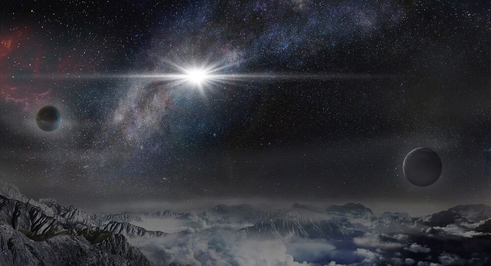 An artist's impression of the superluminous supernova ASASSN-15lh as it would appear from an exoplanet located about 10,000 light-years away in the host galaxy of the supernova.