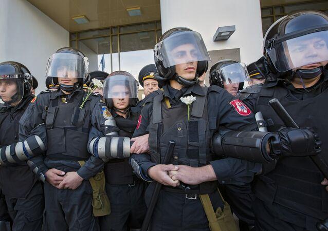 Moldovan riot policemen