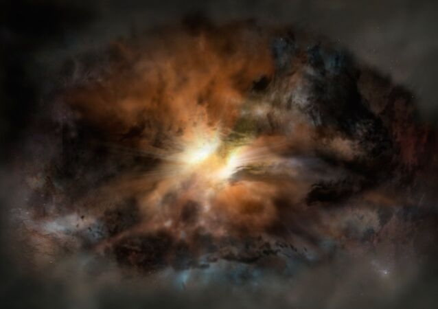 This artist's rendering shows a galaxy called W2246-0526, the most luminous galaxy known