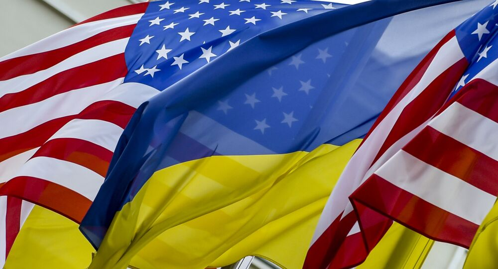 State flags of the United States of America and Ukraine