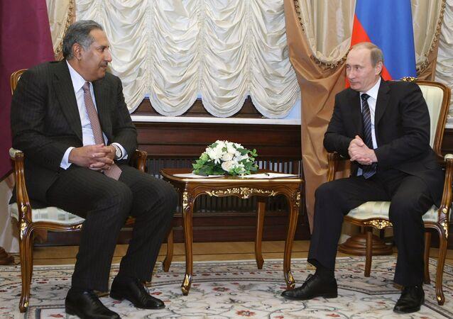 Russian Prime Minister Vladimir Putin meets with Hamad Bin Jassim Bin Jabor Al Thani