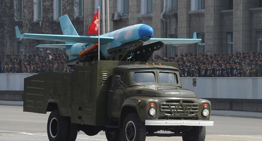 Zil-130 truck carrying a North Korean drone believed to be modeled on the US-made MQM-107D drone, at the military parade marking the 100th birthday of late North Korea founder Kim Il Sung in Pyongyang. April 15, 2012.