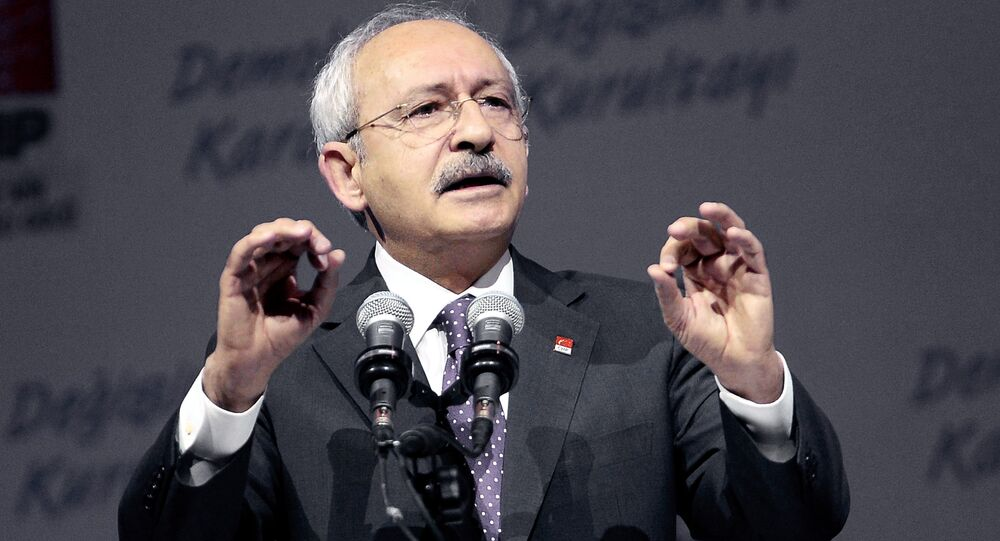 Leader of Turkey's main opposition Republican People's Party (CHP), Kemal Kilicdaroglu delivers a speech during the 35th General Assembly of the party at Ankara Sports Hall in Ankara, on January 16, 2016