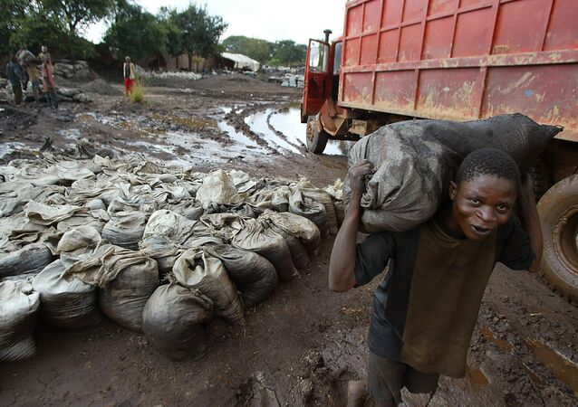 A young man carries wet cobalt on his back at the Shinkolobwe mine, about 35km from the town of Likasi in the Democratic Republic of the Congo, Saturday, 10 April 2004.