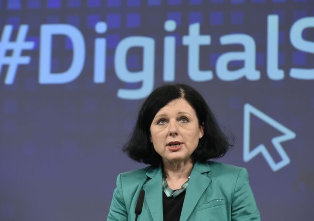 EU Commissioner of Justice, Consumers and Gender Equality Vera Jourova speaks during a joint press a joint press conference on the subject of a Creating Digital Single Market at the EU headquarters in Brussels on December 9, 2015.