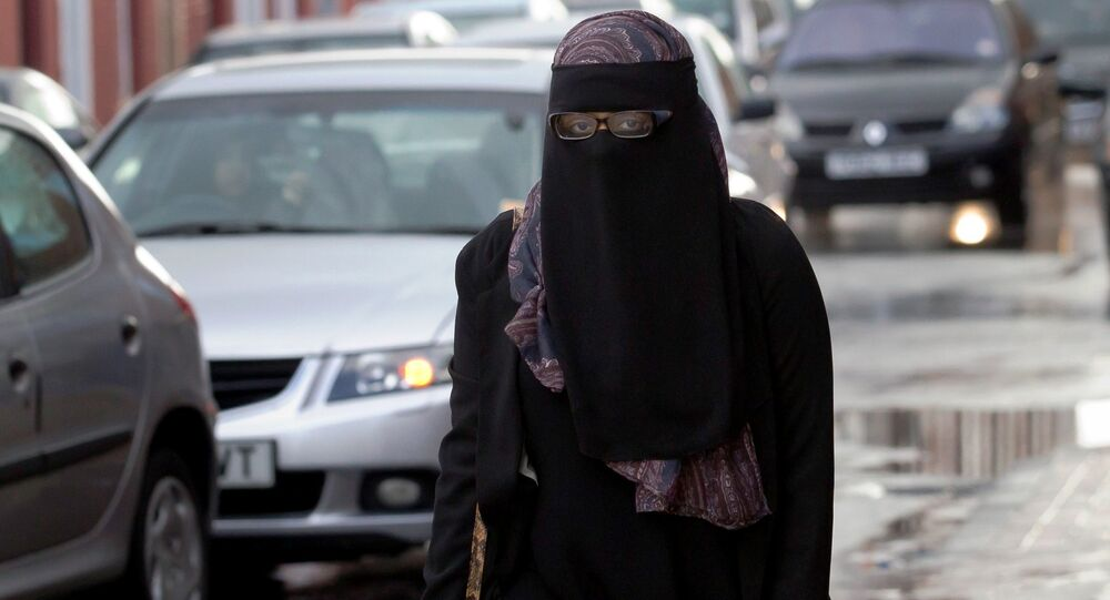 Woman wearing full face veil