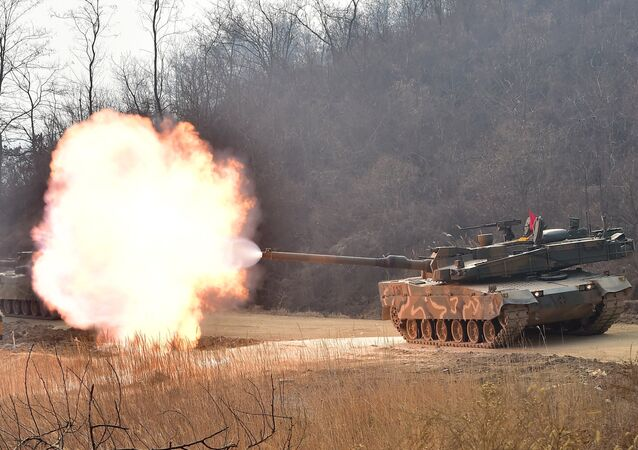 South Korean army's K-2 tank fires during a live-fire drill in Yangpyeong, 60 km east of Seoul, on February 11, 2015