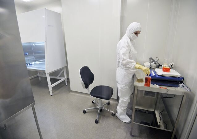 An employee of the laboratory at the Gamalei Institute of Epidemiology and Microbiology where Russian scientists have developed a vaccine against Ebola