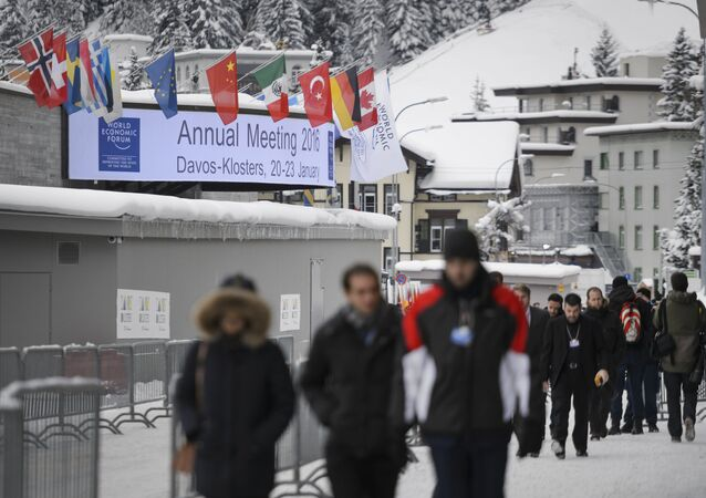 People are seen outside of the Congress Center at the opening of the World Economic Forum (WEF) annual meeting in Davos, on January 19, 2016