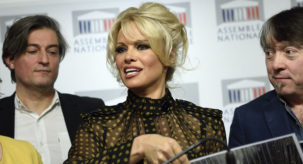 US actress Pamela Anderson gives a press conference after attending a session of questions to the Government at the French National Assembly in Paris on January 19, 2016