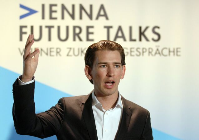 Austrian Foreign Minister Sebastian Kurz speaks to the media at a news conference during the Vienna Integration Conference in Vienna, Austria, Monday, Nov. 9, 2015.