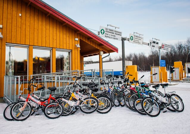 Bikes used by refugees are parked at the Norwegian border crossing station at Storskog after crossing the border from Russia on November 12, 2015 near Kirkenes in northern Norway