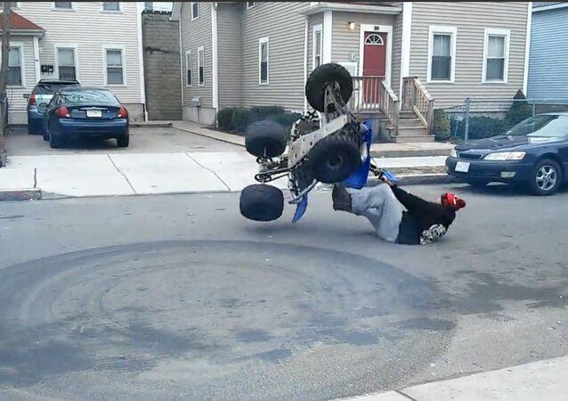 Quad bike goes wild.