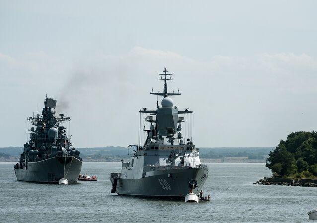 The corvette Steregushchy, (project 20380), right , and the destroyer Nastoichivy in Baltiysk, Kaliningrad region.
