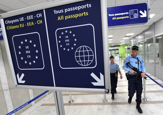 French Gendarmes patrol the airport of Montpellier, southern France, on November 20, 2015.