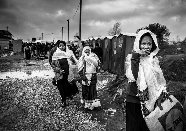 Refugees at the Calais 'Jungle' camp.