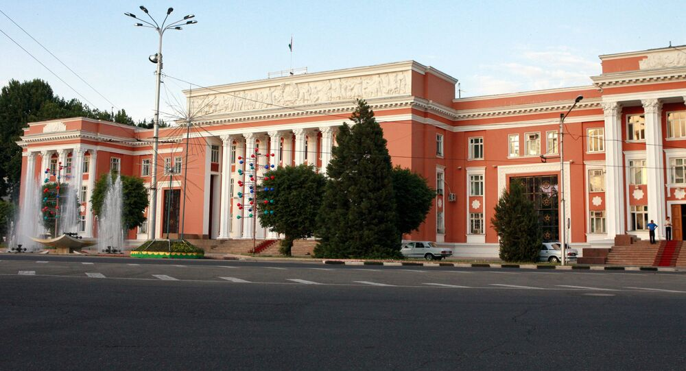 Tajik parliament building in Dushanbe.