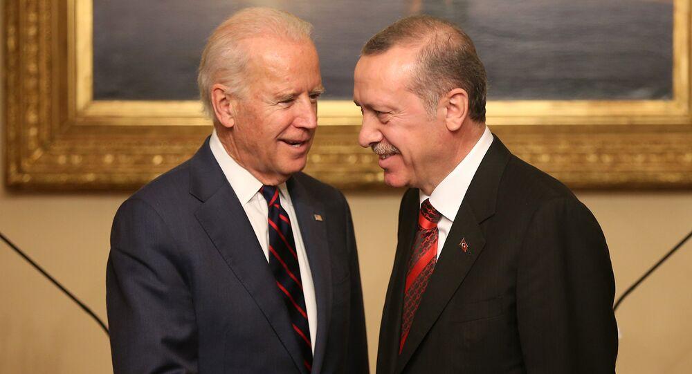 Joe Biden, left, and Turkish President Recep Tayyip Erdogan.
