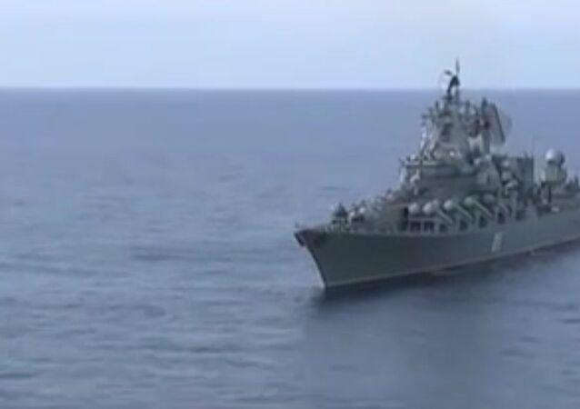 The cruiser Varyag on duty in Syria