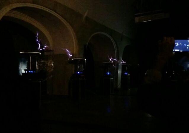 Night of Nikola Tesla at the Mendeleyevskaya metro station