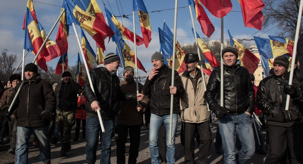 Participants of the opposition protest rally in Chisinau