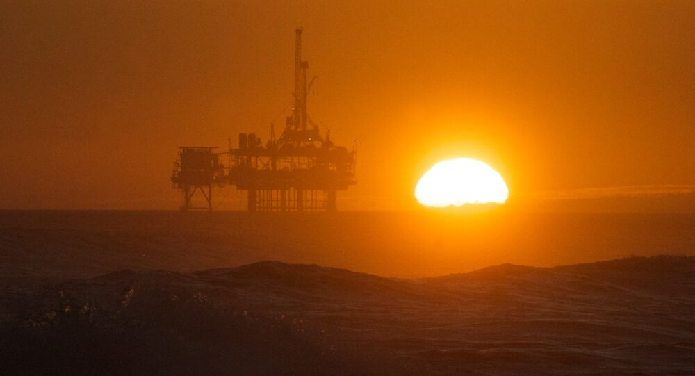 Sunset over an oil rig