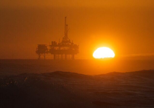 Sunset over the oil rig