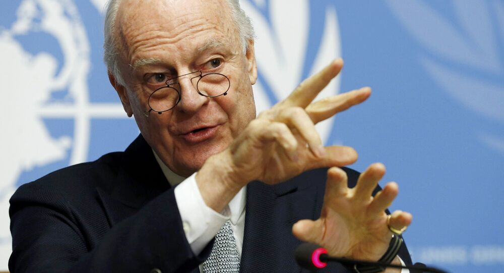 U.N. mediator for Syria Staffan de Mistura gestures during a news conference at the United Nations in Geneva, Switzerland January 25, 2016