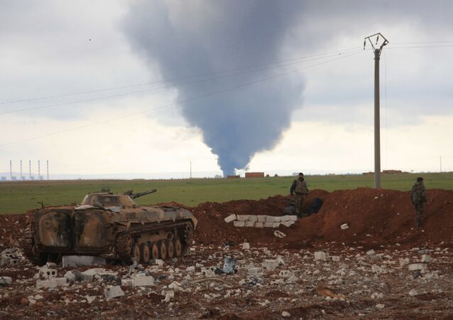 Turkish Air Forces Strike launched an air strike near town of Al-Bab in Aleppo's eastern countryside