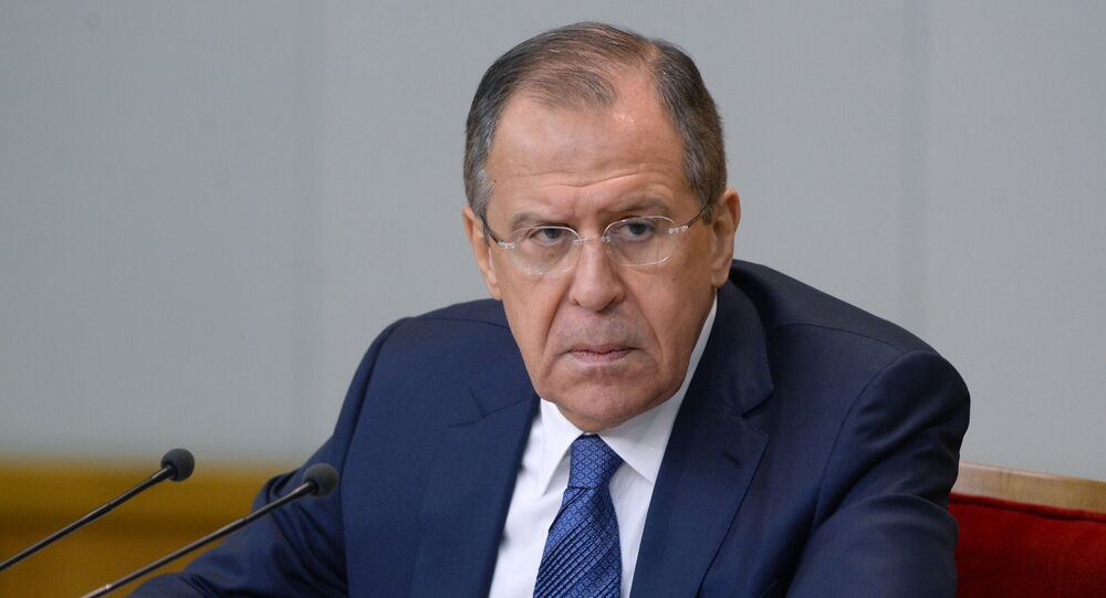 News conference with Russian Foreign Minister Sergei Lavrov.