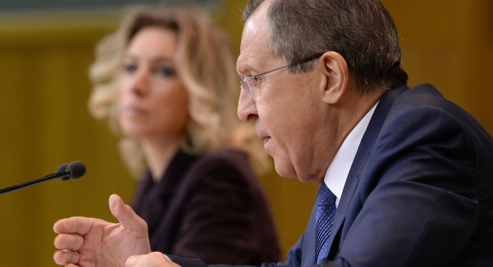 Russian Foreign Minister Sergei Lavrov at a news conference in Moscow.