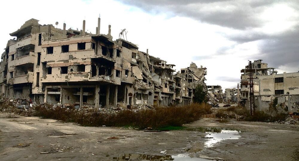 Destroyed buildings in Homs, Syria.