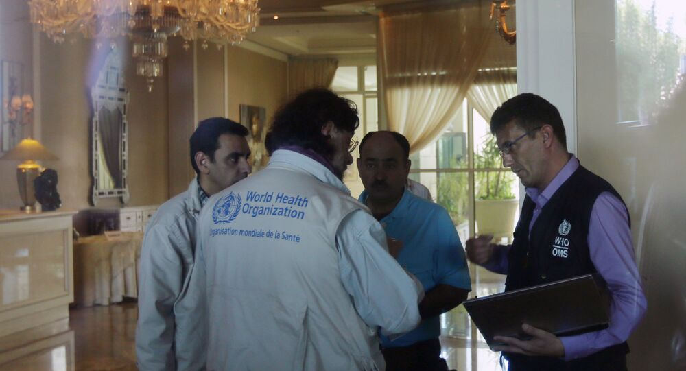 Representatives of the World Health Organization (WHO) talk in the hall of an hotel September 26, 2013 in the Syrian capital Damascus