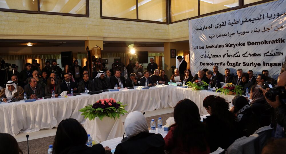 A picture taken on December 8, 2015 shows a general view of the two-day Syrian Democratic Conference in Al-Malikiyeh, a town in Syria's northeastern Hasakeh province, held by Kurdish factions to discuss a vision for Syria's future. Dozens of Kurdish, Arab, and Assyrian figures attended the conference including members of Syria's leading Kurdish movement, the Democratic Union Party (PYD),