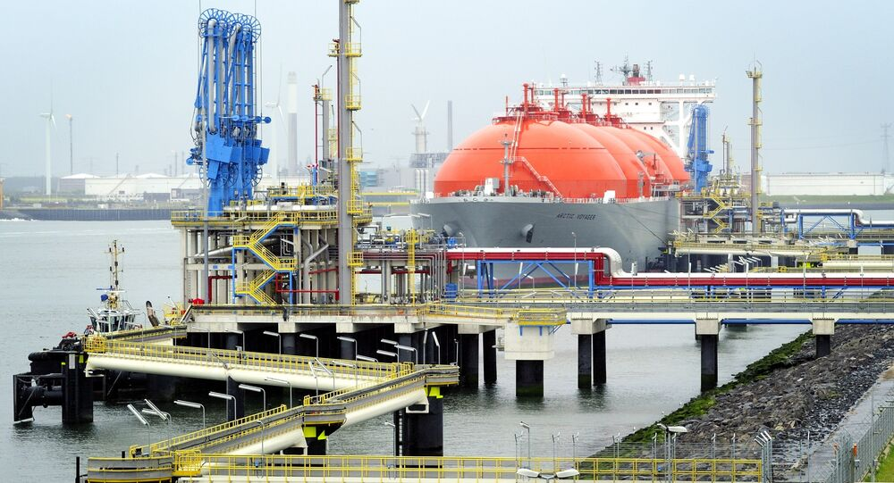 The LNG carrier, a tank ship designed for transporting liquefied natural gas, Arctic Voyager is setting for sail in the port of Rotterdam, The Netherlands on July 6, 2011