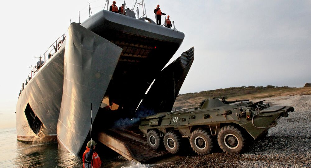 Armored personnel carriers with Marines