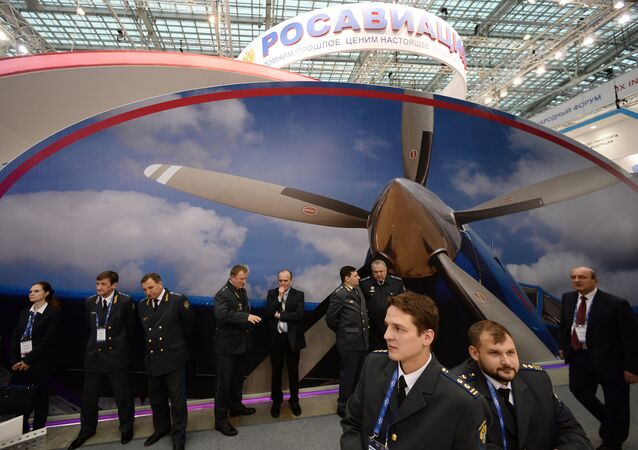 Federal Rosaviatsia Air Transport Agency's mount at the 9th Transport of Russia exhibition in Moscow