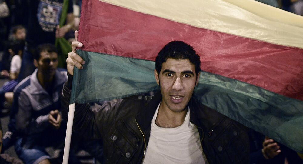 A man holds the flag of the Syrian Kurdish Democratic Union Party (PYD) as Kurds living in Greece protest in central Athens on October 8, 2014