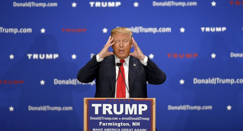 US Republican presidential candidate Donald Trump addresses the crowd at a campaign rally in Farmington, New Hampshire January 25, 2016.