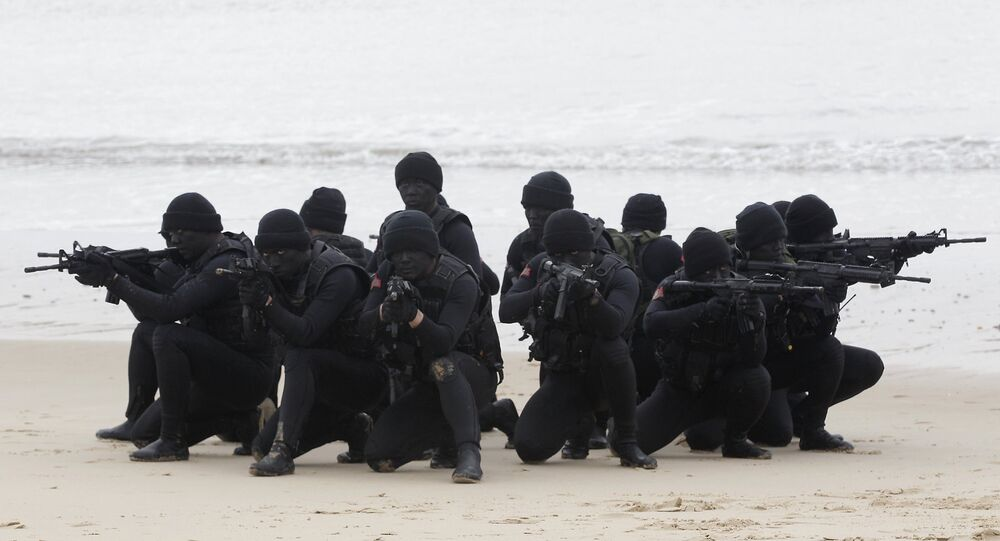 Taiwan's military frogmen take part during a drill in Kinmen.