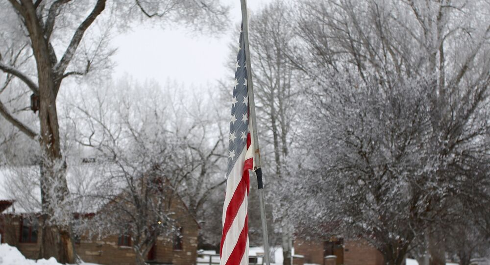 An American flag is seen at the Malheur National Wildlife Refuge near Burns, Oregon, January 10, 2016.
