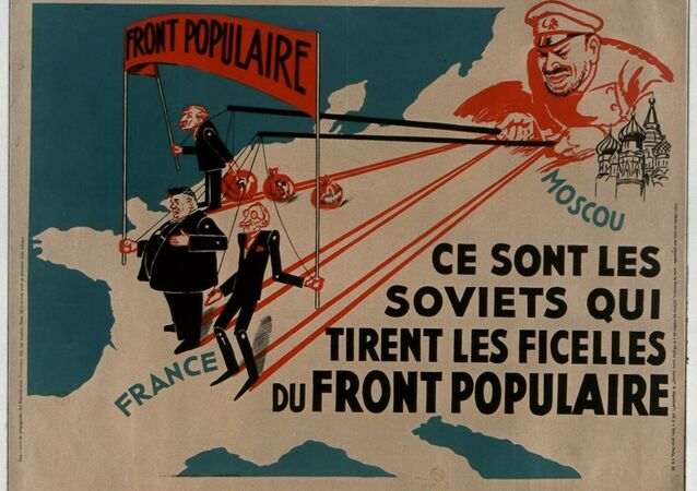 French propaganda poster from 1936 accusing the Soviet Union of meddling in France's domestic politics