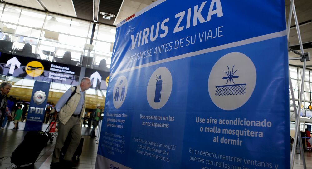 A banner is seen during an information campaign on Zika virus by the Chilean Health Ministry at the departures area of Santiago's international airport, Chile, January 28, 2016