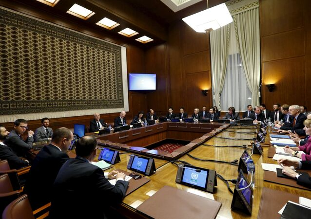 General view of United Nations (U.N.) Special Envoy for Syria Staffan de Mistura attending a meeting on Syria with representatives of the five permanent members of the Security Council (P5) at the United Nations European headquarters in Geneva, Switzerland, January 13, 2016