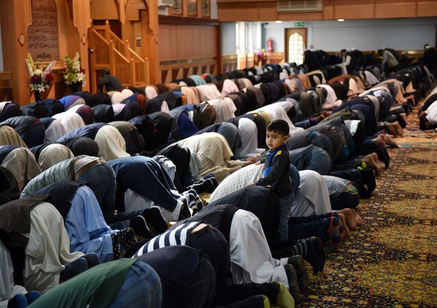 Muslims pray  in Manchester Central Mosque in Manchester, north west England