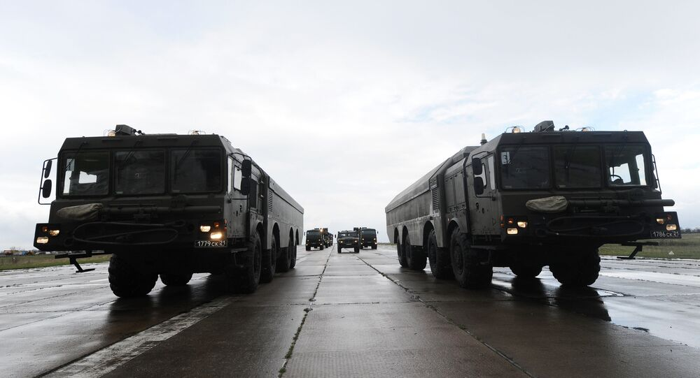 Russia's Bastion-P coastal defense missile system during a parade rehersal.